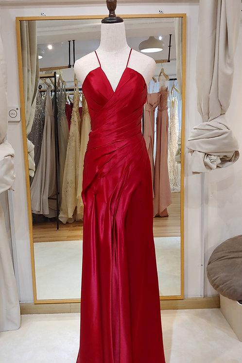 1702 - 紅色satin晚裝