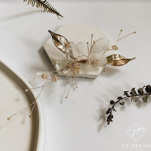夏日的風景 - 白紗透明雙花髮飾(需兩星期製作)