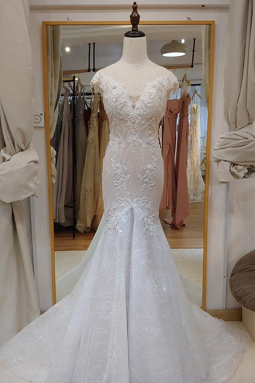 WGM8886- 短袖粉膚色魚尾婚紗