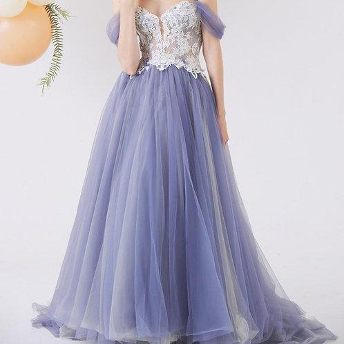 EGH019 - 灰紫色Aline晚裝