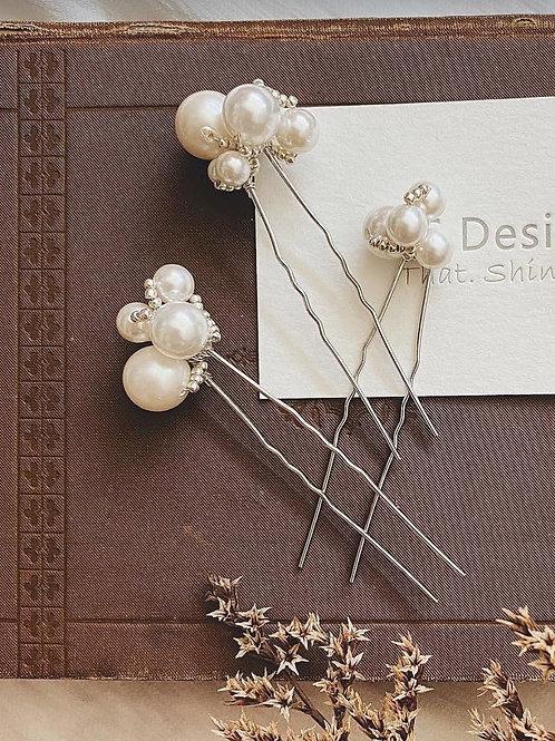 風華_珍珠 -3件珍珠髮叉套裝(需兩星期製作)