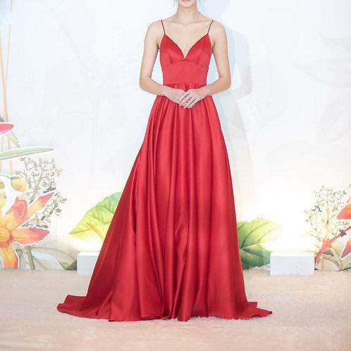 EGF006 - 紅色satin晚裝