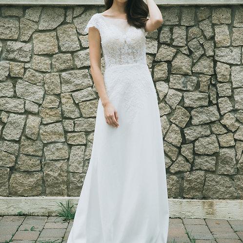 A163 - Lace短袖A line 輕婚紗
