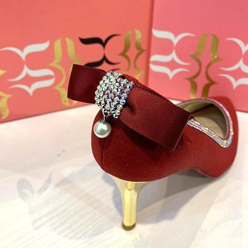 ReSarah台灣手工婚鞋 - 鮮紅色satin尖頭高跟鞋