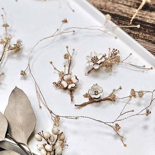 純真年代-珍珠白花髮飾+髮圈 (需兩星期製作)