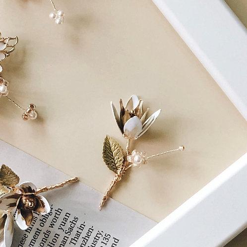 繁花系列-白金色單株花髮飾 (需兩星期製作)