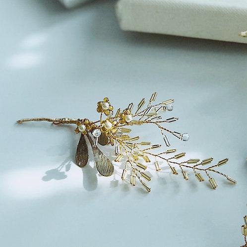 金色年代- 手工管珠葉配小花髮飾(需兩星期製作)
