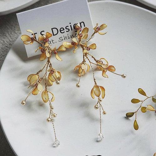 復古花飾長耳環(針/夾)(需兩星期製作)