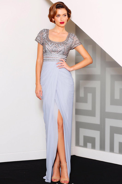 MAJ007 - 澳洲品牌Jadore灰藍色釘珠短袖晚裝