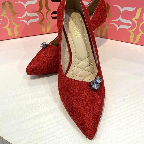 ReSarah台灣手工婚鞋 -鮮紅色尖頭高跟鞋