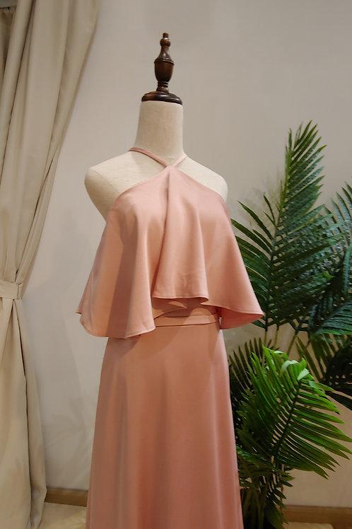 1556 - 入膊粉紅色晚裝