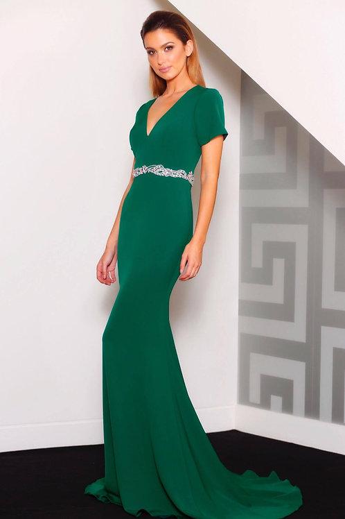 MAJ015- 澳洲品牌Jadore寶石綠短袖魚尾晚裝