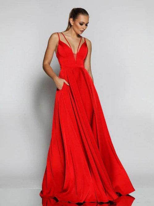JX1062- 澳洲品牌Jadore紅色雙肩帶A line晚裝