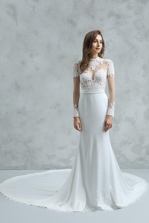 W351 - 長袖Lace拼satin魚尾婚紗