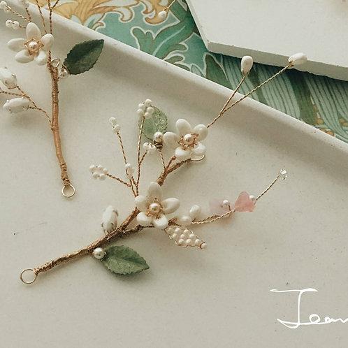 Jean's Creation-小清新白花珍珠髮飾 (需兩星期製作)