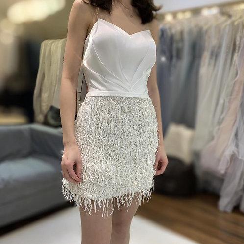 WGS002 -白色流蘇短裙
