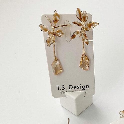 琥珀色花紋耳環(針/夾)(需兩星期製作)