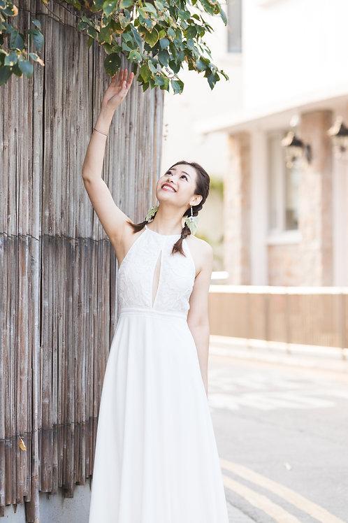 肩膀鏤空繞頸蕾絲裙