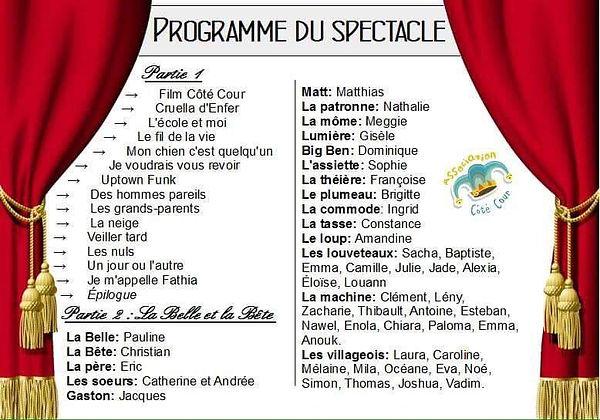 Programme spectacle la Belle et la Bête