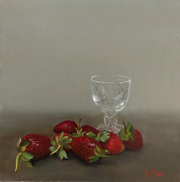 Small panel painting with strawberries.
