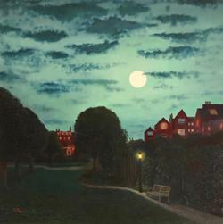 Moonlight over English garden