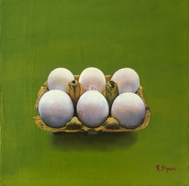 Small painting daily painting of egg carton on green background