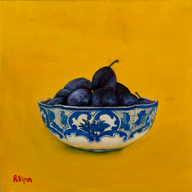 Small painting with plums.