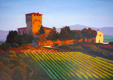 Vineyards in Tuscany Italian landscape painting
