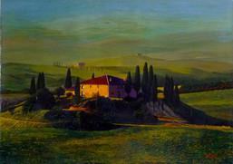 Villa in Tuscany, Italian landscape painting,