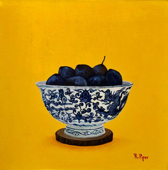 Small painting of plums in blue and white bowl. Sold