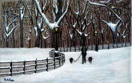 Dog walk under the snow.