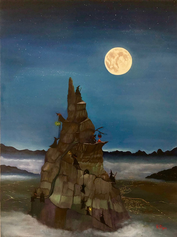 Igor Moussorgsky inspired this original oil painting entitled night on a bald mountain, under a moonlit starry night sky