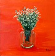 White flowers in glass jar. Price: 330$