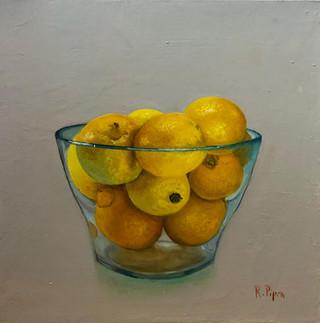 Small painting of lemons in glass vase