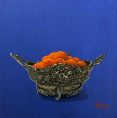 Small painting of silver dish with apricots on blue background. Price: 330$