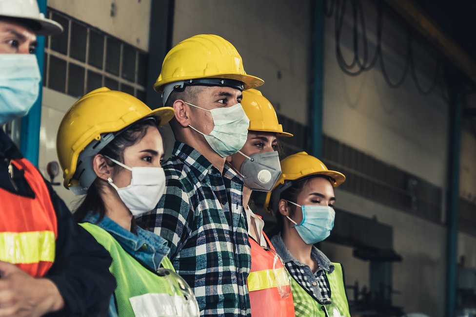 Quarantined masked workers protect sprea