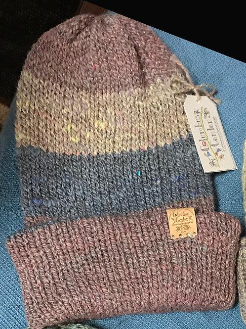 Banded Ash Rose, Multicolor Blend & Dusty Blue Alpaca Hat in 2 Brim Styles