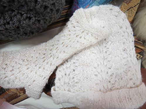Hand-Spun, Hand-Made White Alpaca Cap