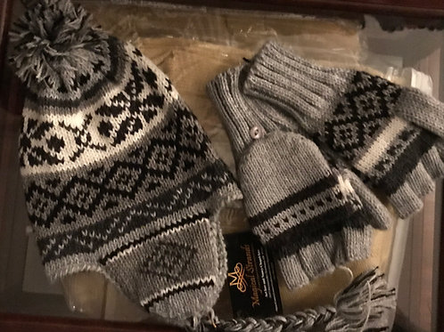 Alpaca Chullo and Glittens - Medium Grey