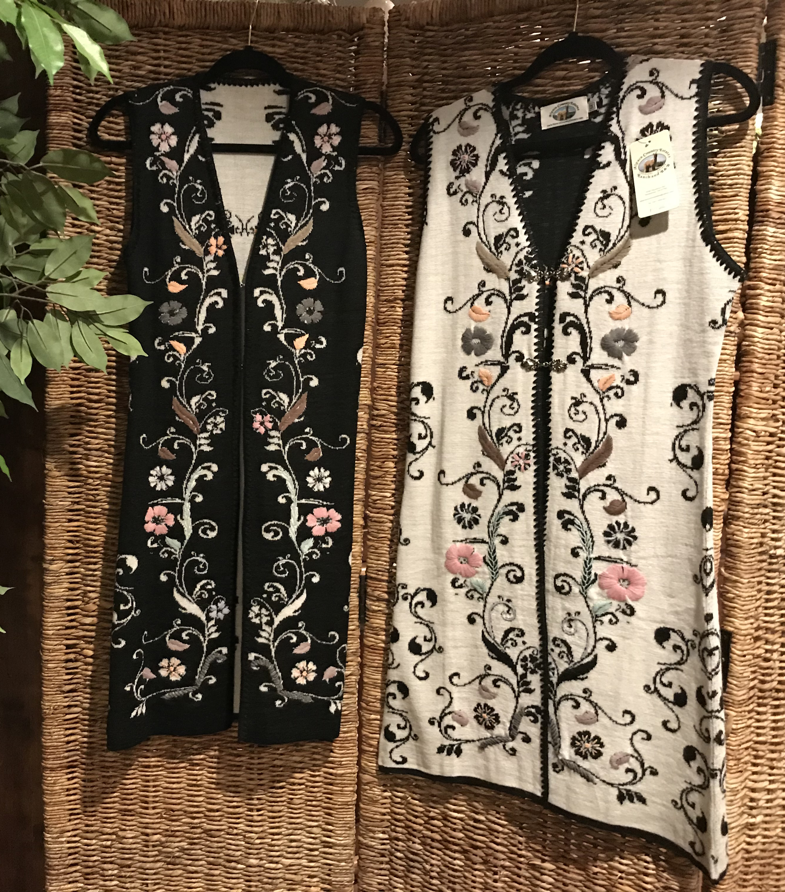 Vest-Floral Embroidered Reversible Alpac