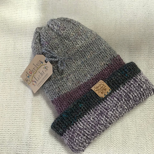 Reversible Beanie - Grey/Purple