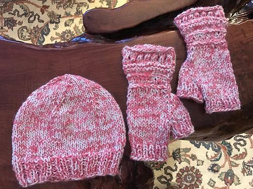 Pink PeppermintHand-Crocheted Beanie & Fingerless Matching Gloves