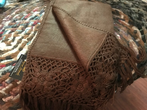 Beautiful Alpaca Shawl with Flower Lacing