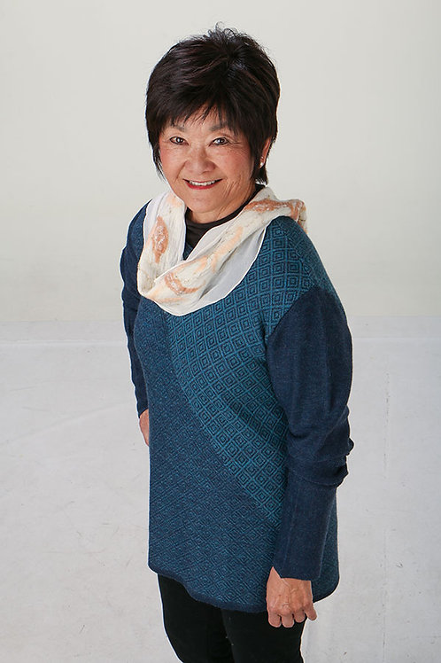 Blue Two-Toned Handwoven Sweater