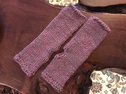 Mauve Hand-Crocheted Long Fingerless Gloves