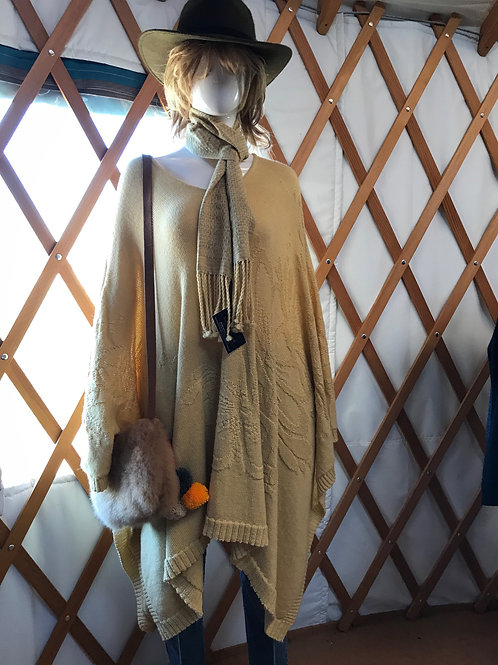 Tone on Tone Knitted Alpaca Poncho - Additional Fall Colors