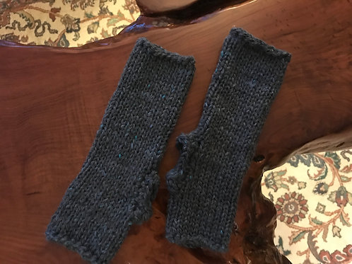 Grey Hand-Crocheted Long Fingerless Gloves