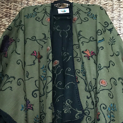 Moss Green/Black Embroidered Alpaca Ruana