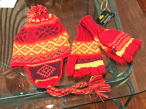 Alpaca Chullo and Glittens -Deep Red & Orange