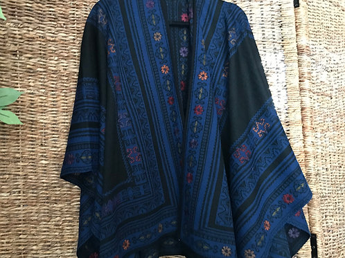 Embroidered Royal Blue/Black Reversible Alpaca Ruana